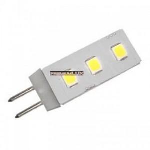 LED žárovka 0.5W 3xSMD G4 50lm STUDENÁ BÍLÁ 12V DC